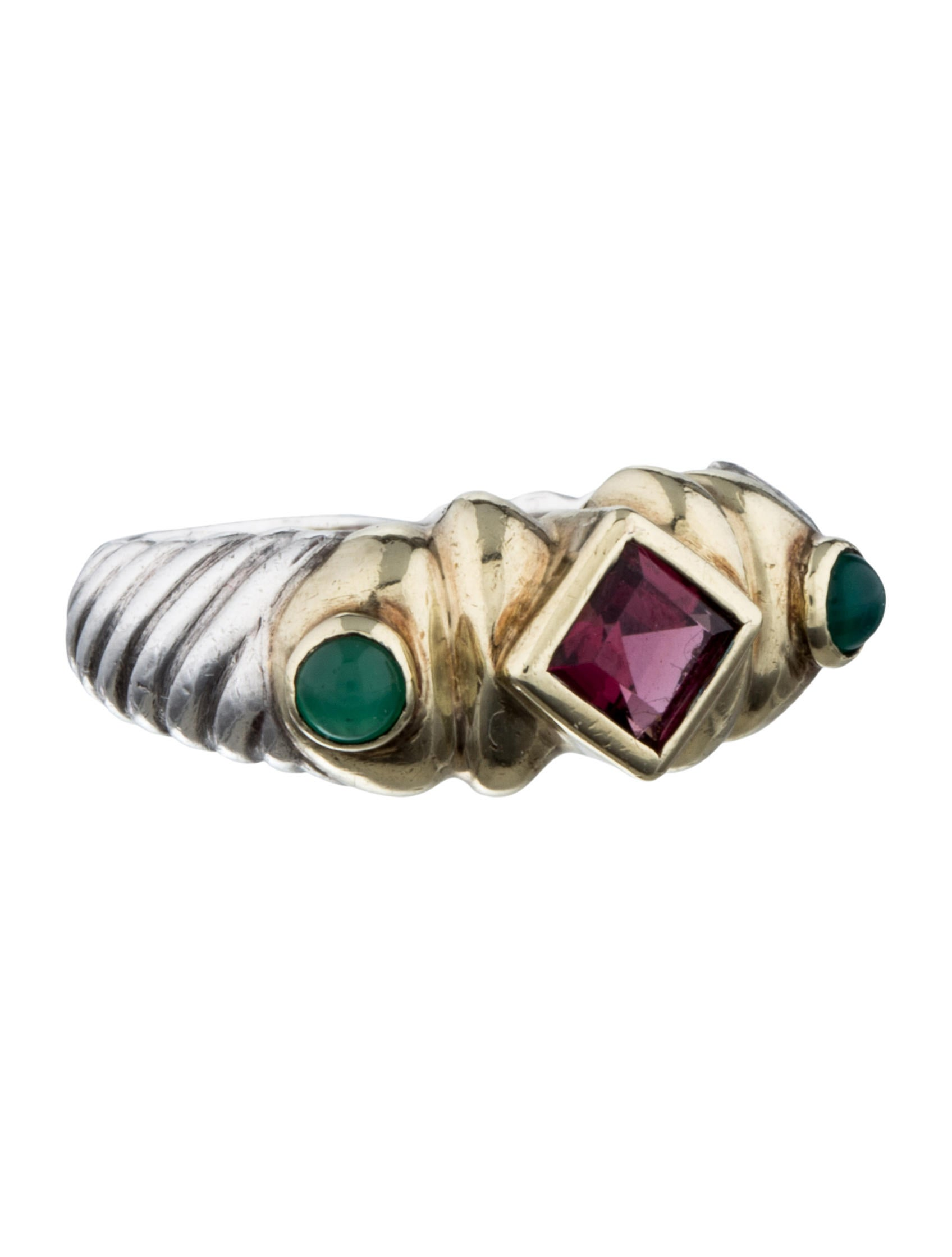 david yurman tourmaline emerald 3 ring rings