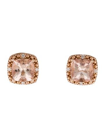 Square Morganite Stud Earrings