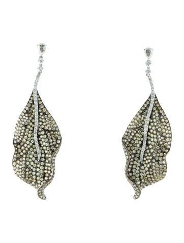 18K Pavé Diamond Leaf Earrings