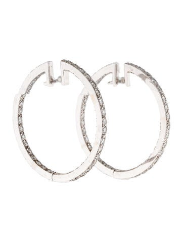 14K Diamond In & Out Hoop Earrings