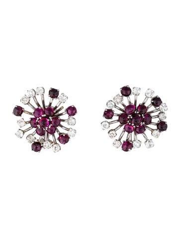 14K Ruby & Diamond Burst Earrings