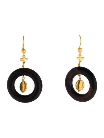 24K Wooden Circle Drop Earrings