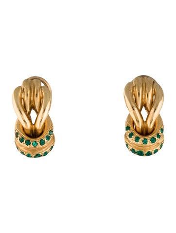 14K Emerald Knot Earrings