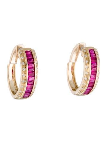 14K Ruby & Diamond Hoop Earrings