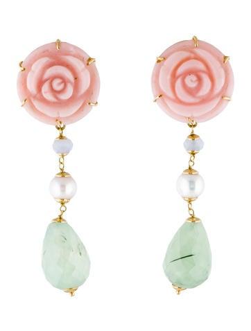 18K Rose Carved Opal, Iolite, Pearl and Quartz Drop Earrings