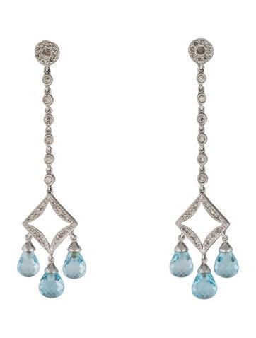 14K Topaz & Diamond Drop Earrings