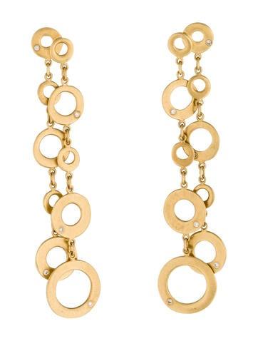 18K Diamond Circle Drop Earrings