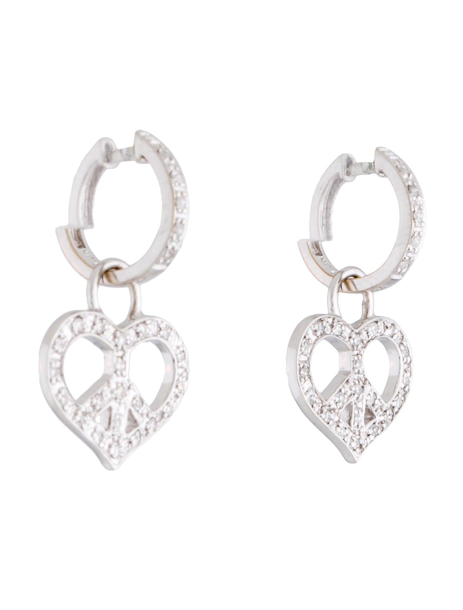 heart peace sign diamond earrings earrings earri23619