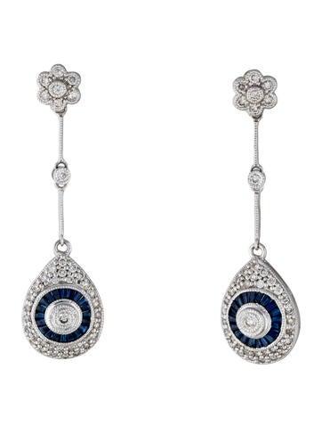 14K Sapphire & Diamond Teardrop Earrings
