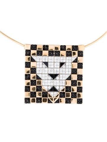 Enigma 18K Diamond and Black Spinel Tiger Pendant Necklace