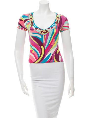 Emilio Pucci Short Sleeve Printed Top None