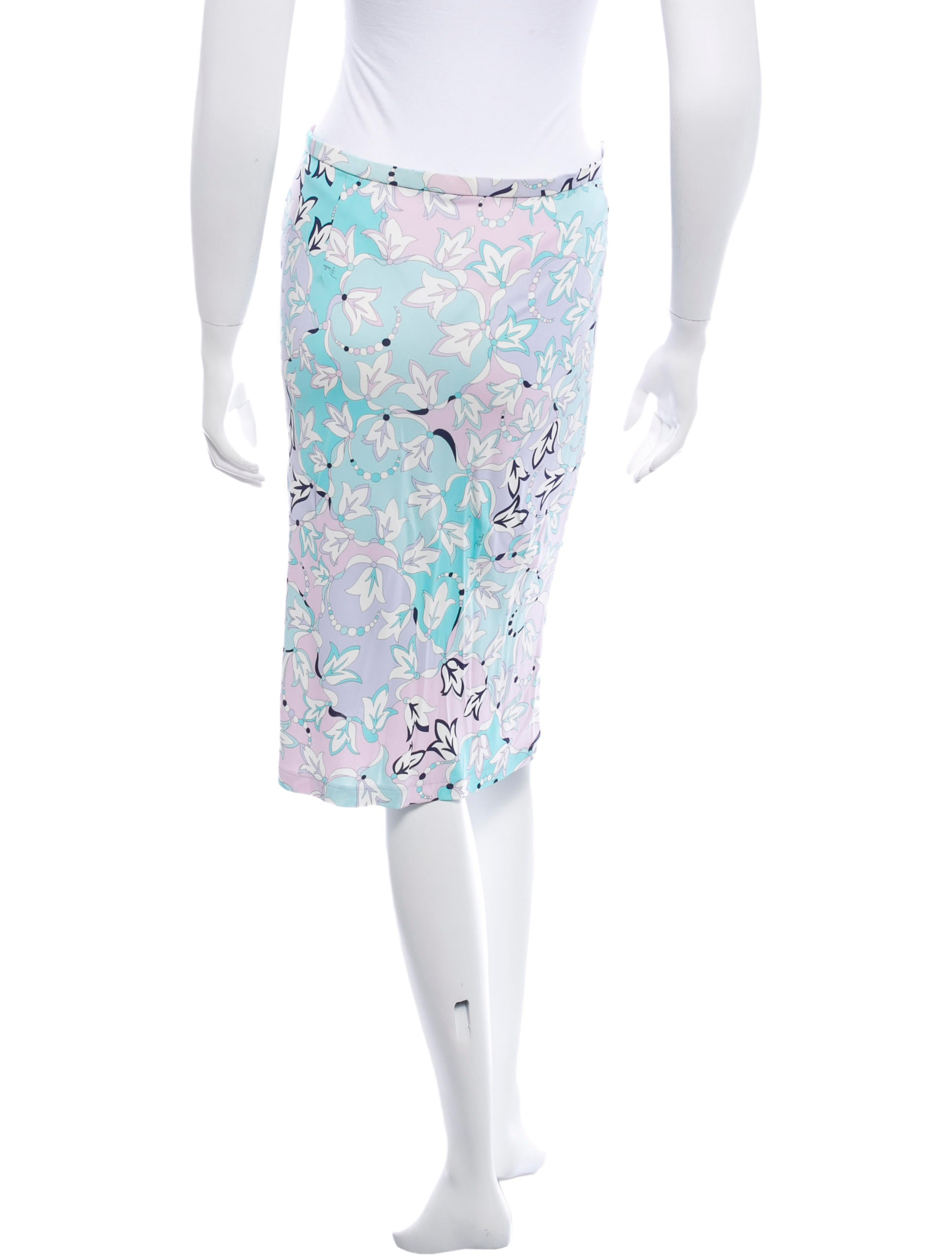emilio pucci floral print knee length skirt clothing