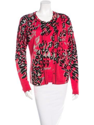 Escada Wool & Silk Leopard Cardigan Set w/ Tags None