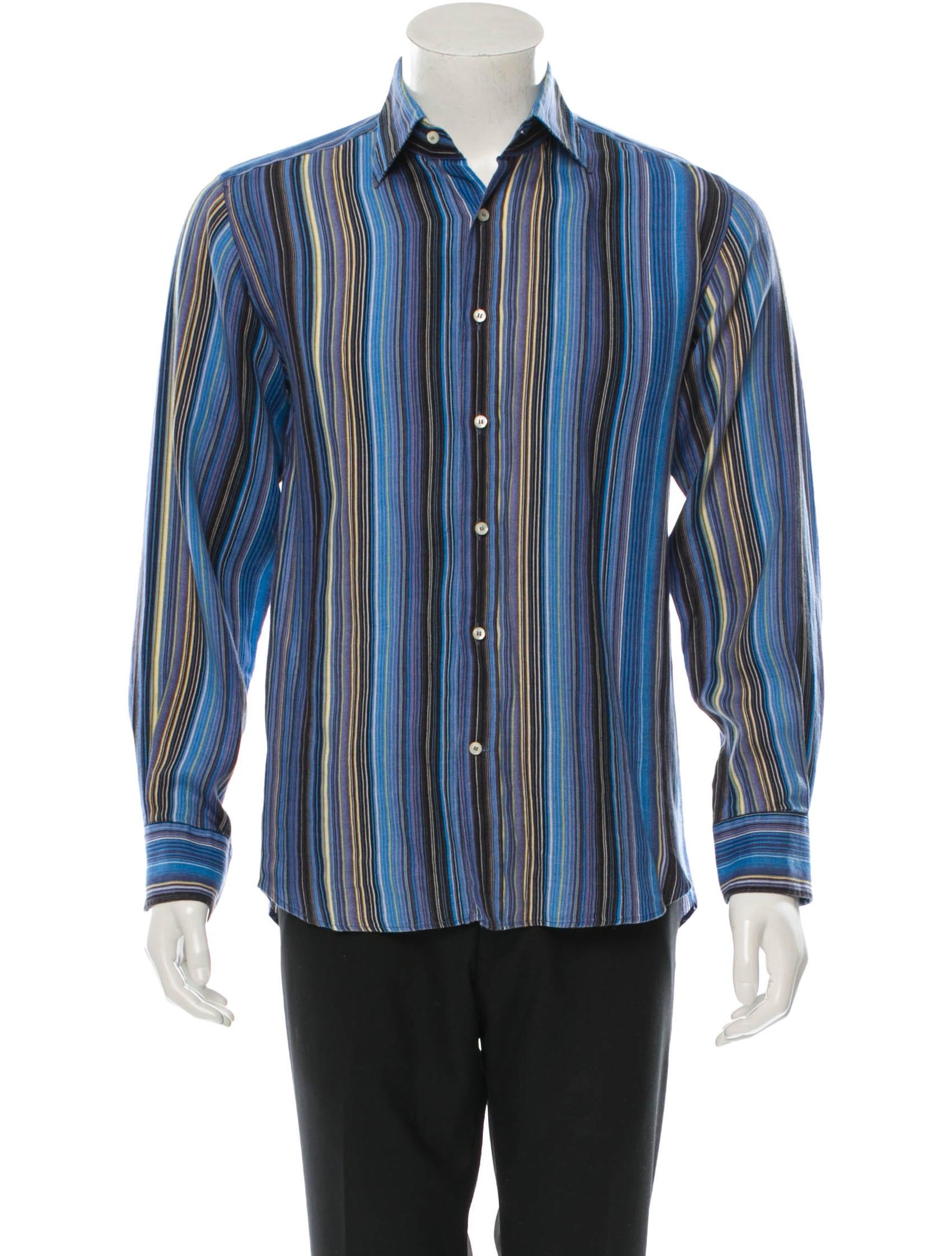 Etro striped long sleeve shirt mens shirts etr30876 for Etro men s shirts