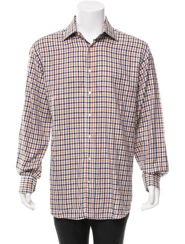 Etro gingham button up shirt clothing etr34496 the for Mens yellow gingham shirt