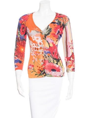 Etro Floral Print Rib Knit Cardigan None