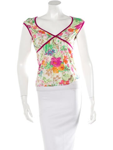 Etro Floral-Printed Sleeveless Top None