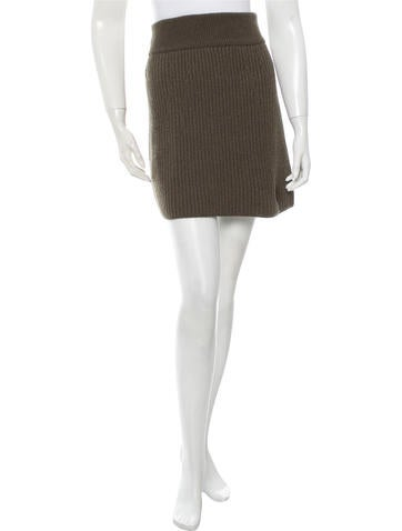 Fendi Camel Hair Rib Knit Skirt None