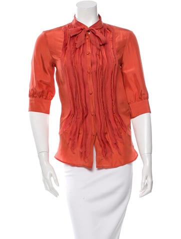 Fendi Pleated Button-Up Top None