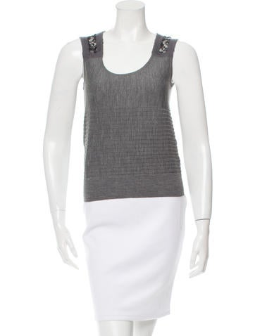 Fendi Sleeveless Lace-Paneled Top None
