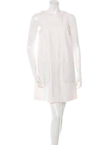 Fendi Leather-Pocket Wool Dress None
