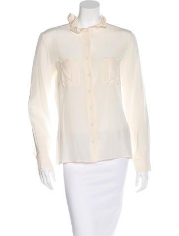 Fendi Silk Gathered-Collar Top None