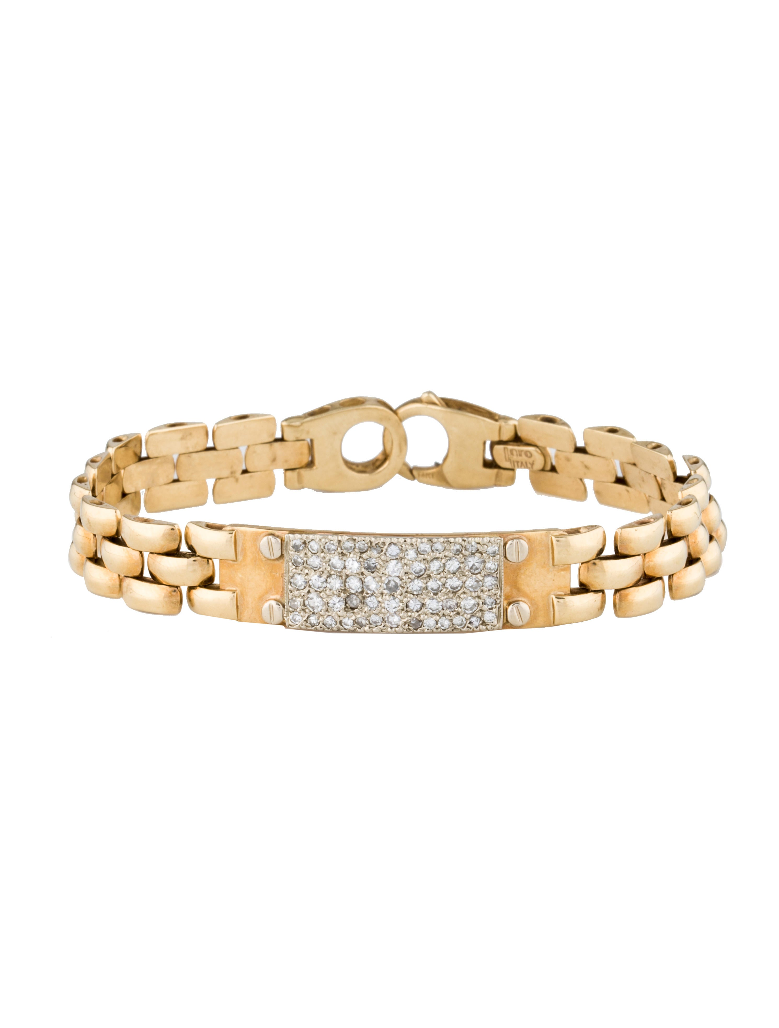 14k gold diamond id bracelet bracelets fjb21728. Black Bedroom Furniture Sets. Home Design Ideas