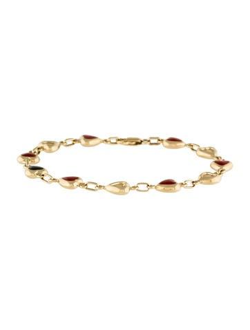 14K Yellow Gold Enameled Heart Bracelet None