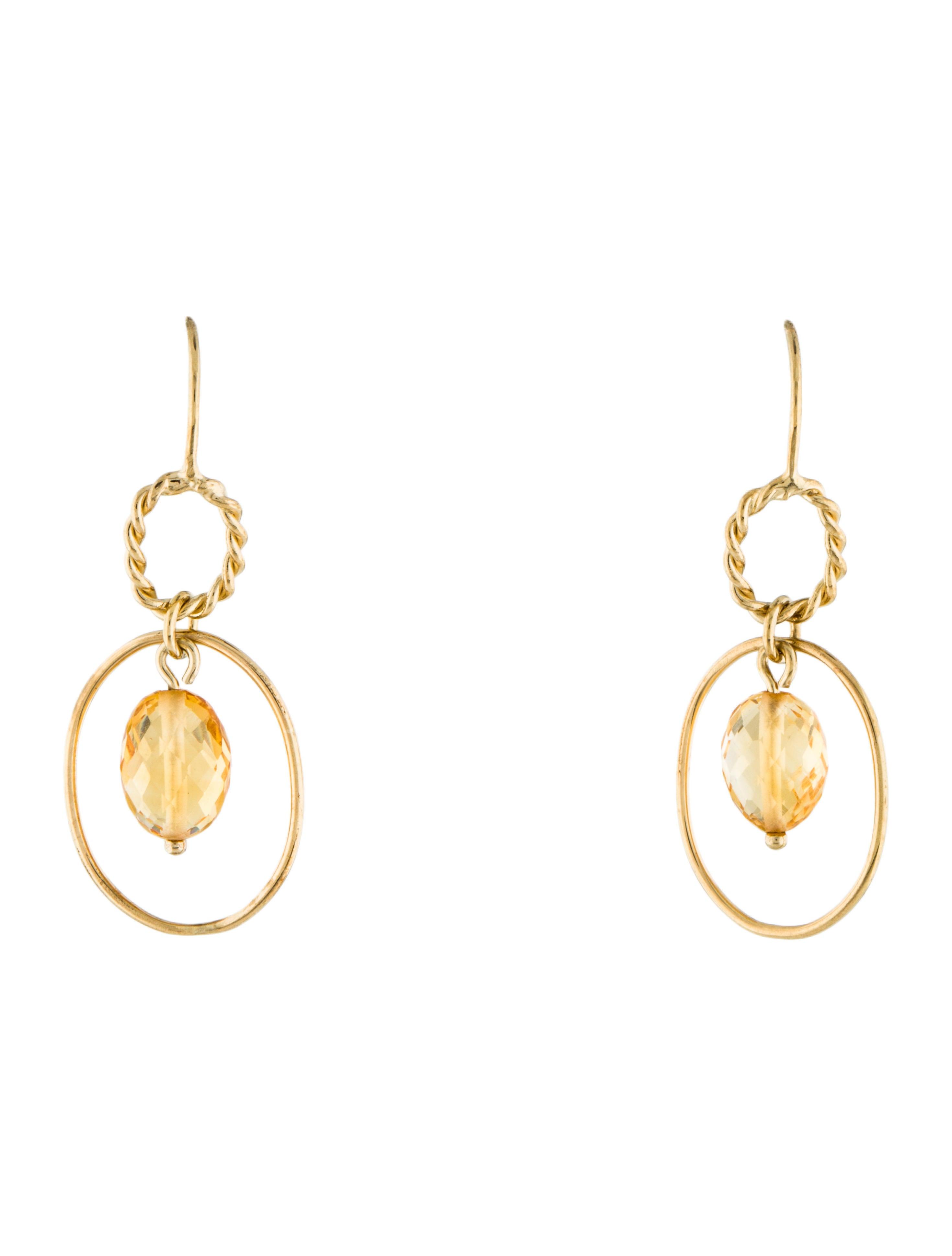 Citrine Drop Earrings Yellow Gold Citrine Drop Earrings
