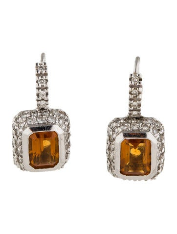 1.00ctw Diamond and Citrine Earrings