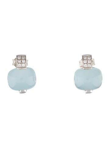 Chalcedony & Diamond Earrings