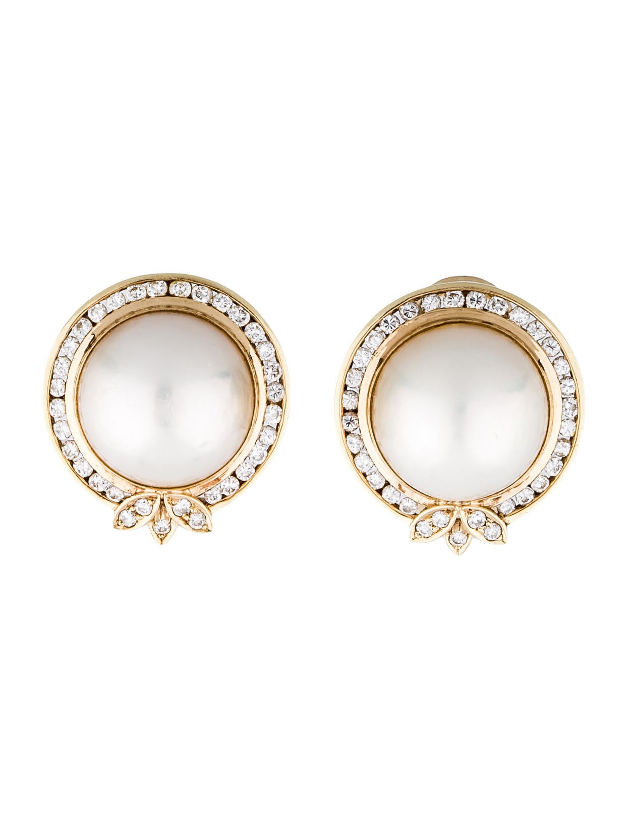 14k gold mabe pearl and earclips jewelry