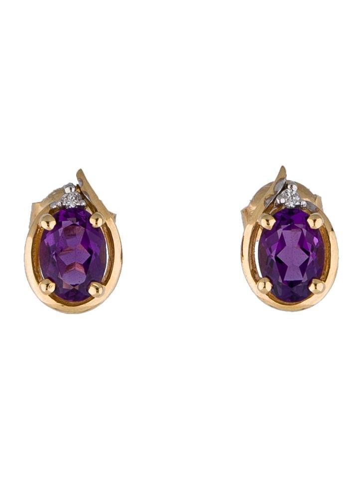 14k gold amethyst and stud earrings earrings