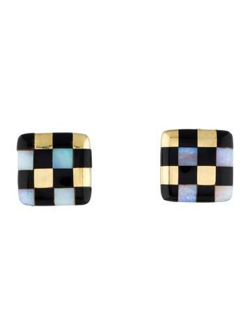 Opal & Enamel Square Earrings