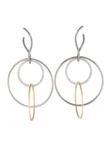 Two-Tone Diamond Hoop Drop Earrings