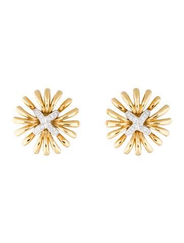 Fine Jewelry Earrings 18K Two-Tone Diamond Earclips
