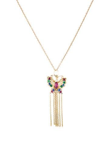 Multi-Gemstone Butterfly Necklace