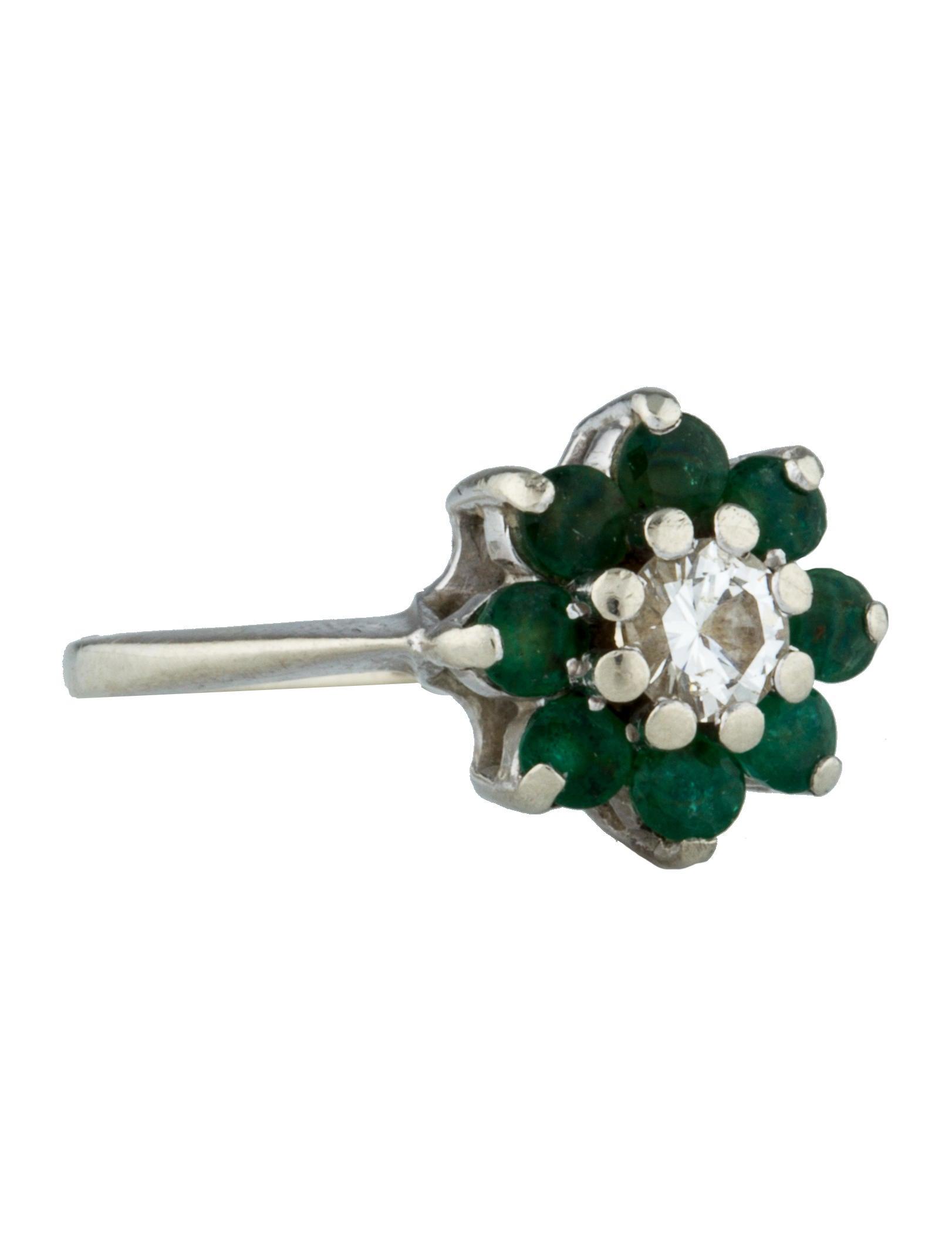 Emerald & Diamond Flower Ring Rings FJN
