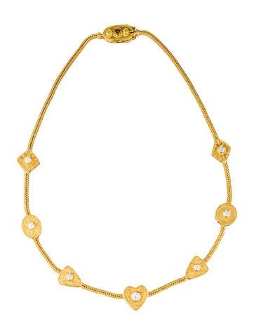 22K Diamond Station Necklace