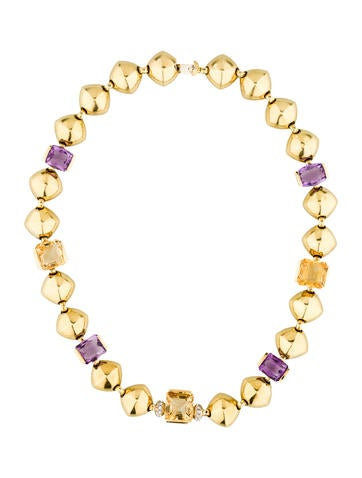 Amethyst, Citrine & Diamond Link Necklace