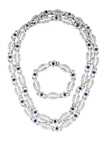 18K Sapphire and Diamond Necklace and Bracelet Set