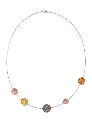 Pave Sapphire Station Necklace