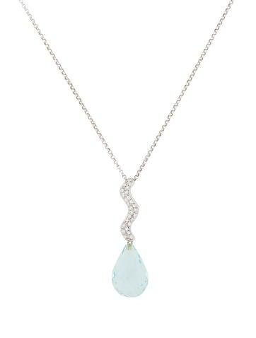 18K Diamond and Aquamarine Pendant Necklace