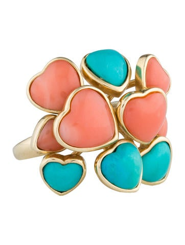 Coral & Turquoise Heart Ring