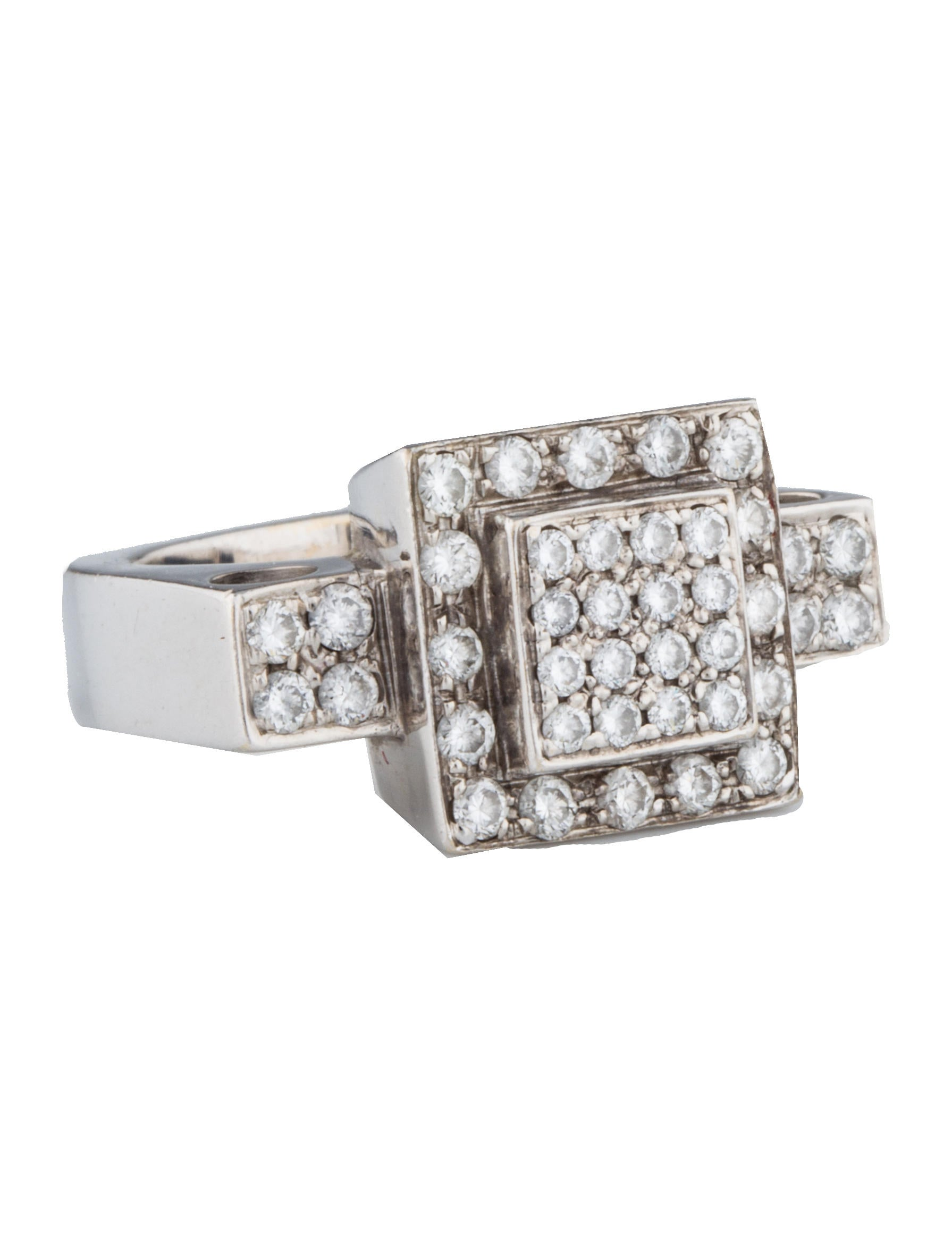 Pavé Diamond Square Ring Rings FJR