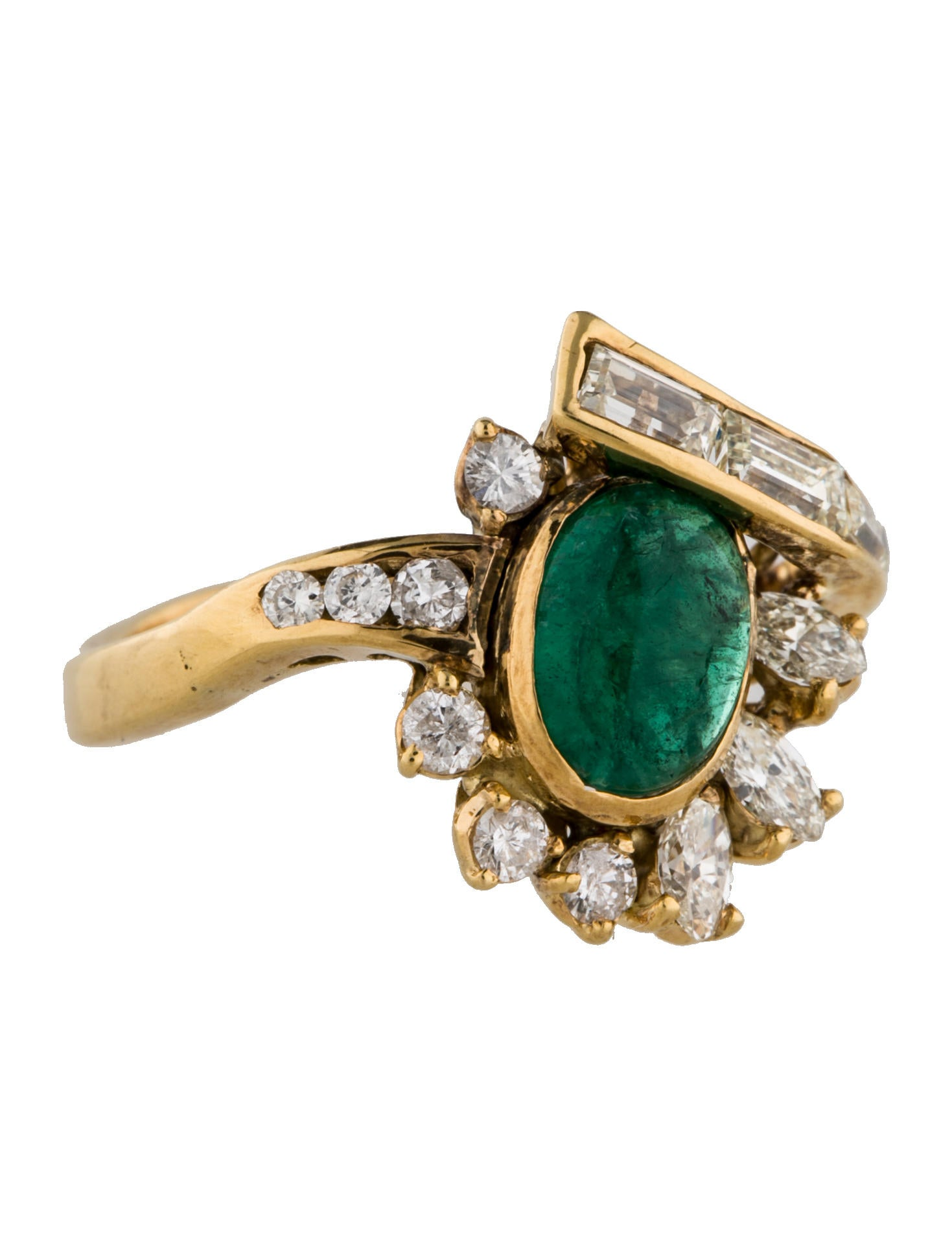 Fine jewelry ring emerald and diamond cocktail ring for Fine jewelry diamond pendants
