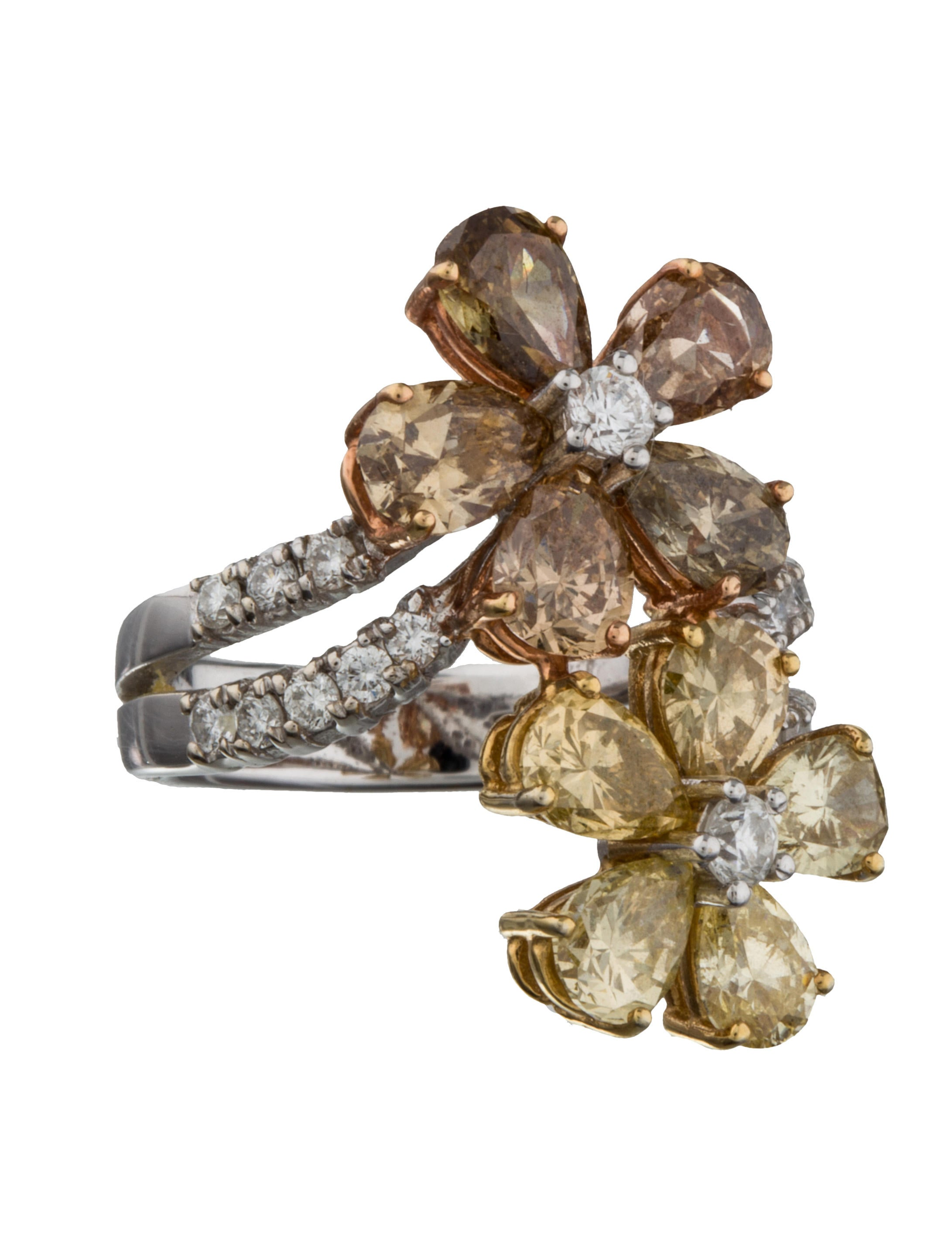 18K Diamond Flower Ring Jewelry FJR