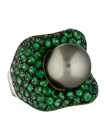 Garavelli Tsavorite Garnet and Pearl Cocktail Ring