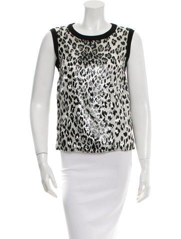 Giambattista Valli Sleeveless Leopard Print Top None
