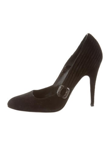 Giorgio Armani Round-Toe Suede Pumps None